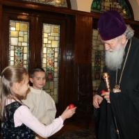 Пасхален поздрав от децата на Горна Малина за Българския патриарх Неофит_2
