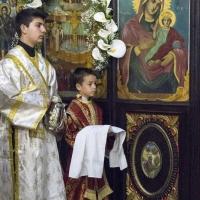 Олтарниците - пред патронната икона на Пресвета Богородица - Живоприемни източник