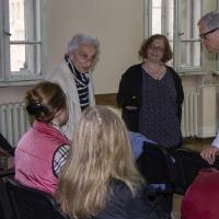 Момент от срещата на проф. Ед Гафни (вдясно) в Богословския факултет