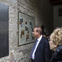 Пред паметната плоча на входа на Бачковската света обител