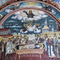 Стенопис на Успение на преп. Иоан Рилски в екзонартекса на главната църква на Рилския манастир