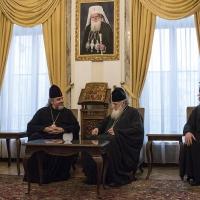 Среща на Българския патриарх Неофит с Виницкия и Барски митрополит Симеон