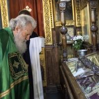 Поклонение на Негово Светейшество пред раката с мощите на св. Стефан Милутин