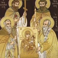 Ватопедските ктитори - св. Атанасий, Антоний и Николай, а св. Сава държи иконата на св. богородица - Ктиторска (Олтарница)