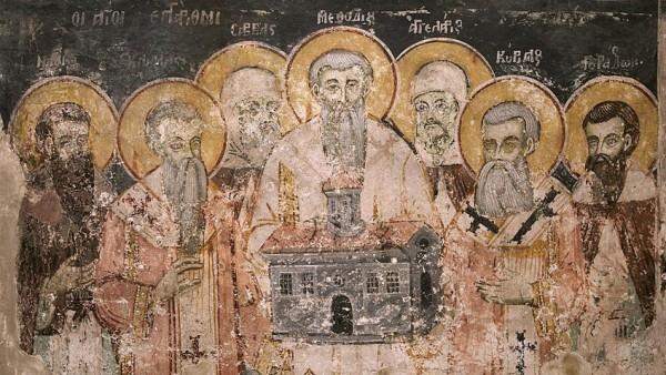 """Стенопис със Седмочислениците в манастира """"Св. Наум"""" край Охрид"""